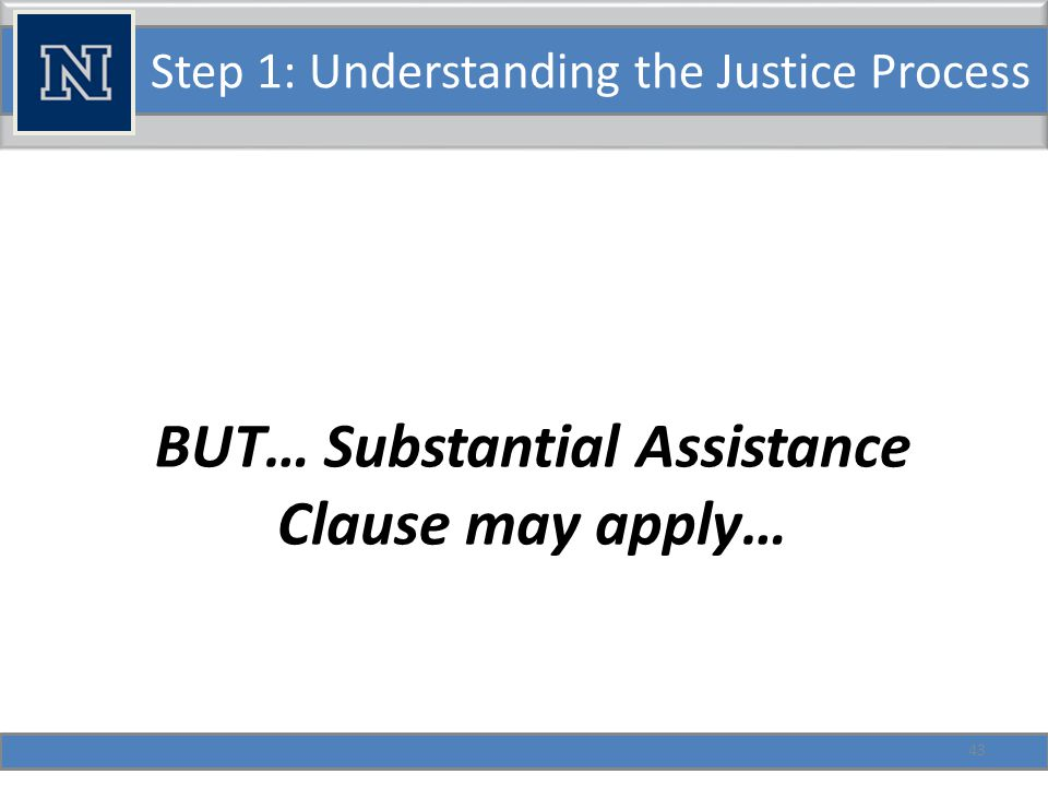 Step 1: Understanding the Justice Process BUT… Substantial Assistance Clause may apply… 43