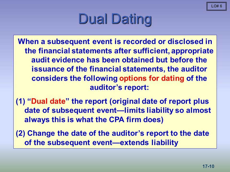 Dual Dating When a subsequent event is recorded or disclosed in the financial statements after sufficient, appropriate audit evidence has been obtaine