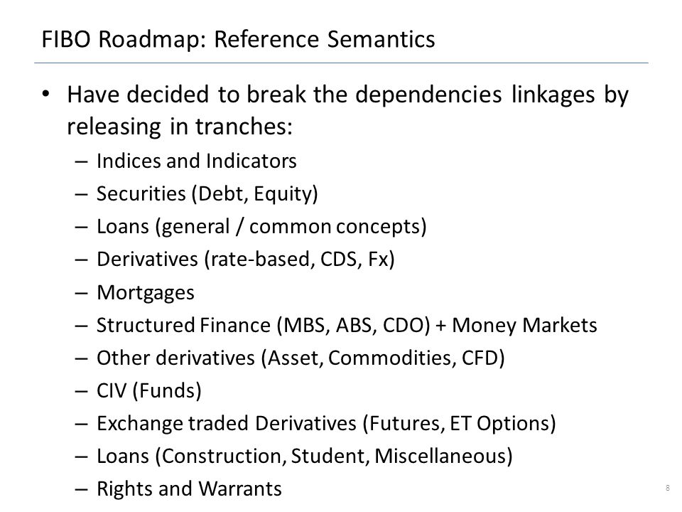 FIBO Roadmap: Reference Semantics Have decided to break the dependencies linkages by releasing in tranches: – Indices and Indicators – Securities (Debt, Equity) – Loans (general / common concepts) – Derivatives (rate-based, CDS, Fx) – Mortgages – Structured Finance (MBS, ABS, CDO) + Money Markets – Other derivatives (Asset, Commodities, CFD) – CIV (Funds) – Exchange traded Derivatives (Futures, ET Options) – Loans (Construction, Student, Miscellaneous) – Rights and Warrants 8