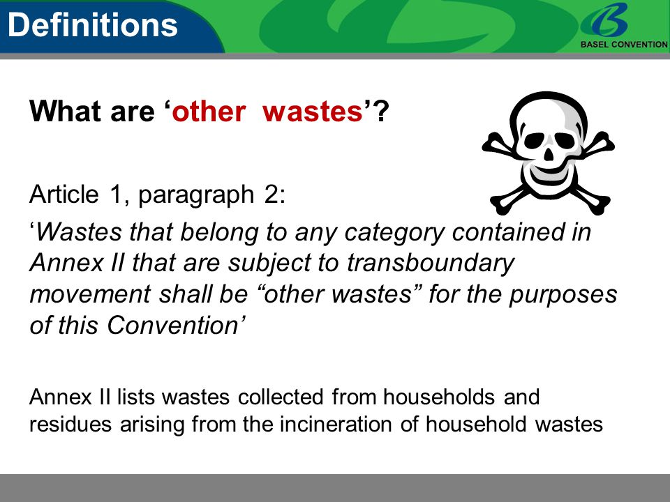 What are 'other wastes'? Article 1, paragraph 2: 'Wastes that belong to any category contained in Annex II that are subject to transboundary movement