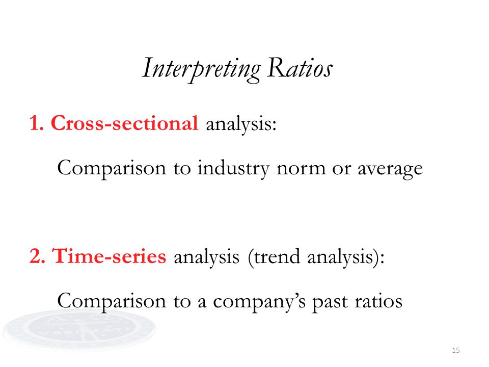 15 Interpreting Ratios 1. Cross-sectional analysis: Comparison to industry norm or average 2. Time-series analysis (trend analysis): Comparison to a c