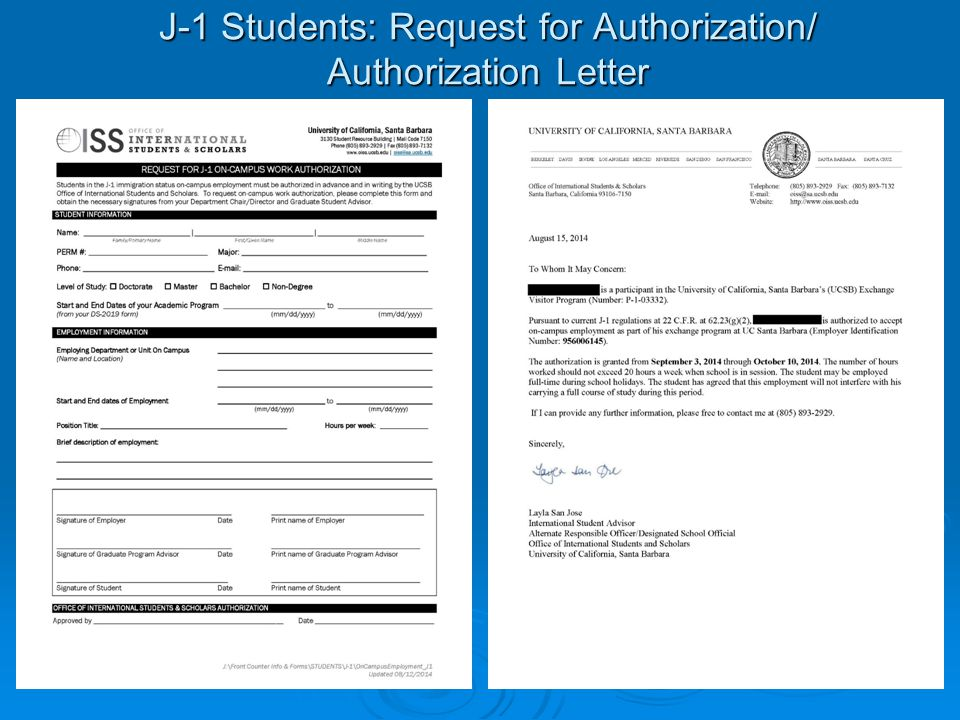 J-1 Students: Request for Authorization/ Authorization Letter