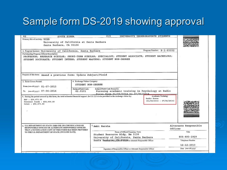 Sample form DS-2019 showing approval