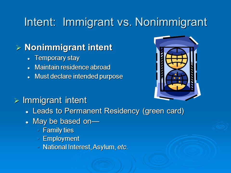Intent: Immigrant vs.