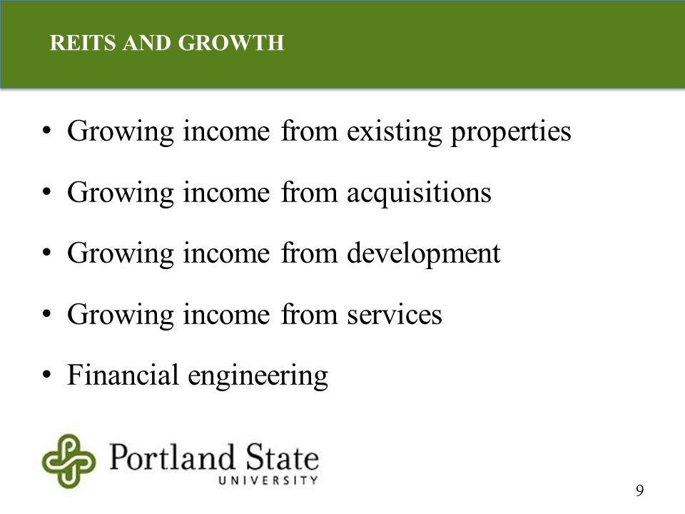 Growing income from existing properties Growing income from acquisitions Growing income from development Growing income from services Financial engine