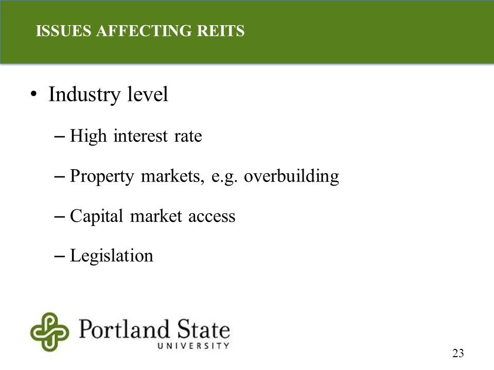 Industry level – High interest rate – Property markets, e.g.