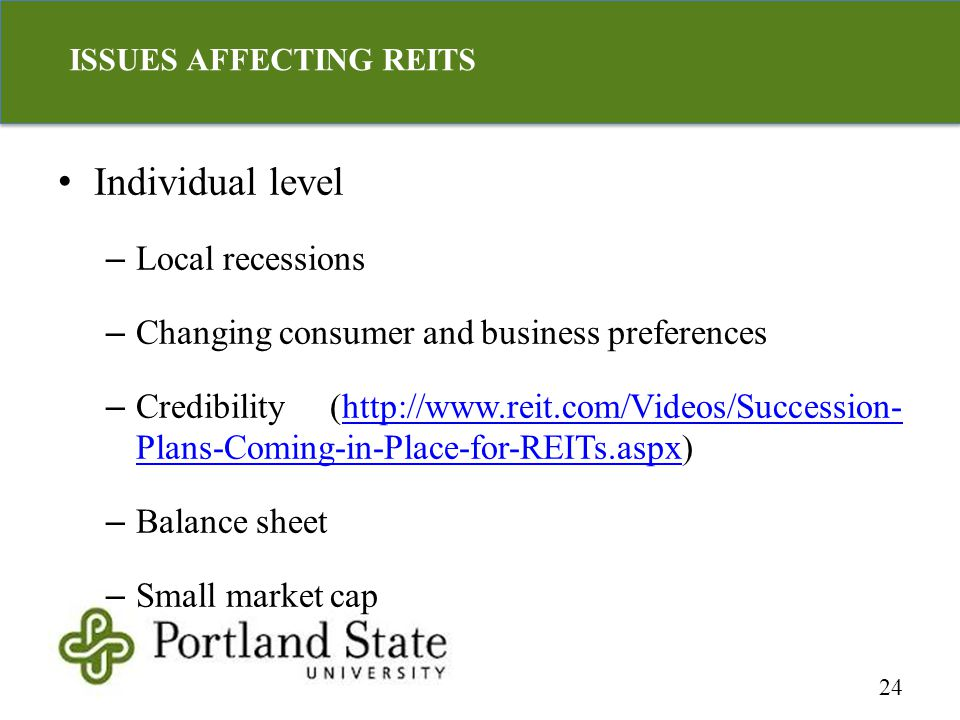 Individual level – Local recessions – Changing consumer and business preferences – Credibility (http://www.reit.com/Videos/Succession- Plans-Coming-in-Place-for-REITs.aspx)http://www.reit.com/Videos/Succession- Plans-Coming-in-Place-for-REITs.aspx – Balance sheet – Small market cap 24 ISSUES AFFECTING REITS