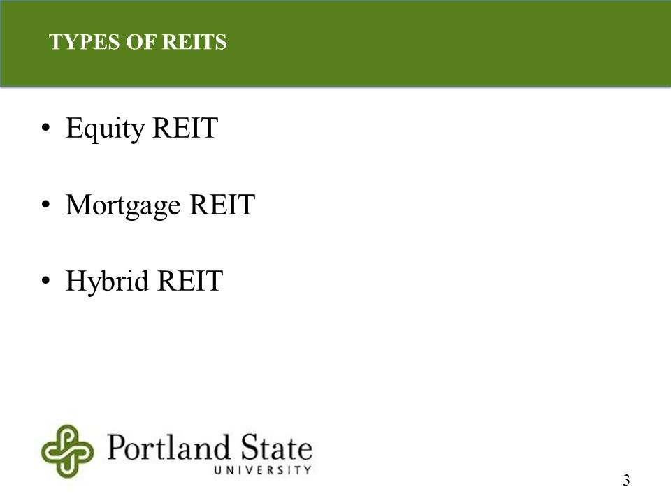 TYPES OF REITS 3 Equity REIT Mortgage REIT Hybrid REIT