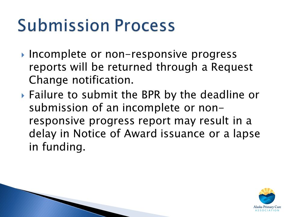  Incomplete or non-responsive progress reports will be returned through a Request Change notification.  Failure to submit the BPR by the deadline or