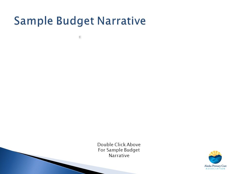 Double Click Above For Sample Budget Narrative
