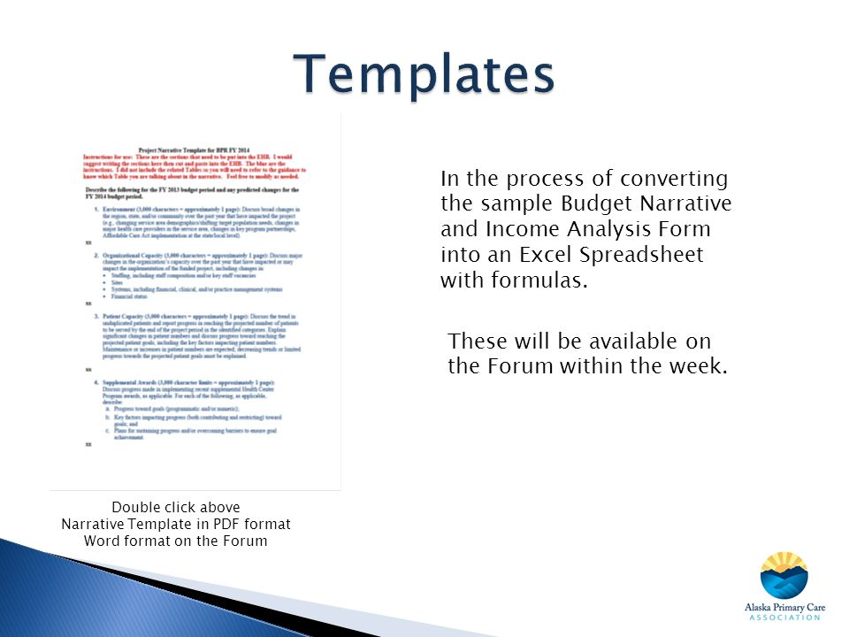 Double click above Narrative Template in PDF format Word format on the Forum In the process of converting the sample Budget Narrative and Income Analy