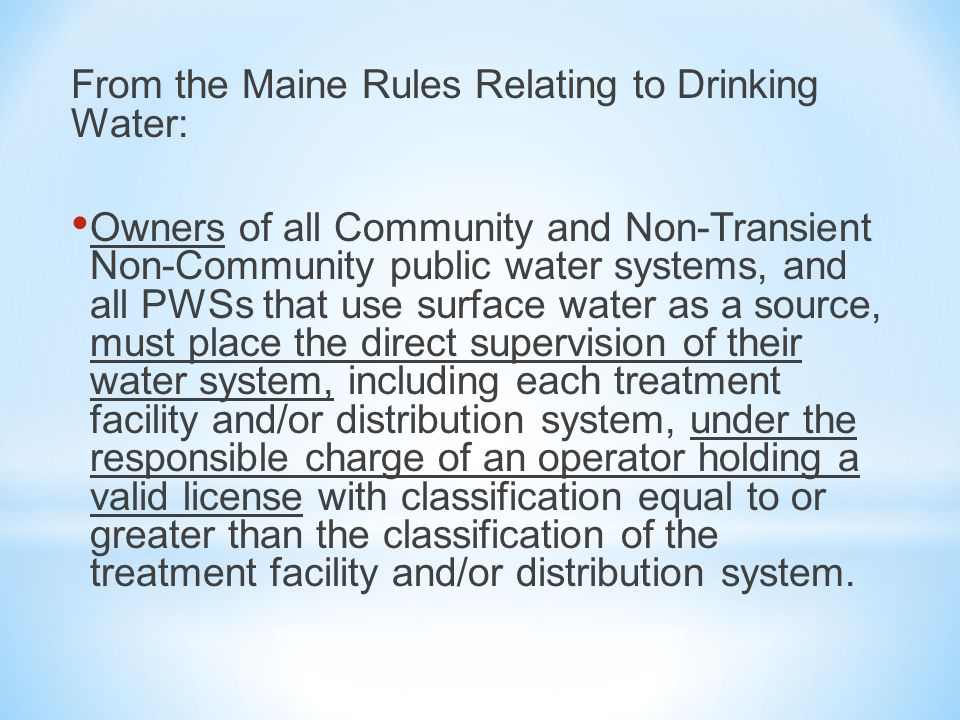 Notes on terminology: The term unlicensed individual refers to an individual without a water operator's license The term designated operator means a designated operator for that PWS A Notice of Noncompliance is a notice from the DWP to a PWS as a notice of violation of state drinking water laws, regulations, or rules.