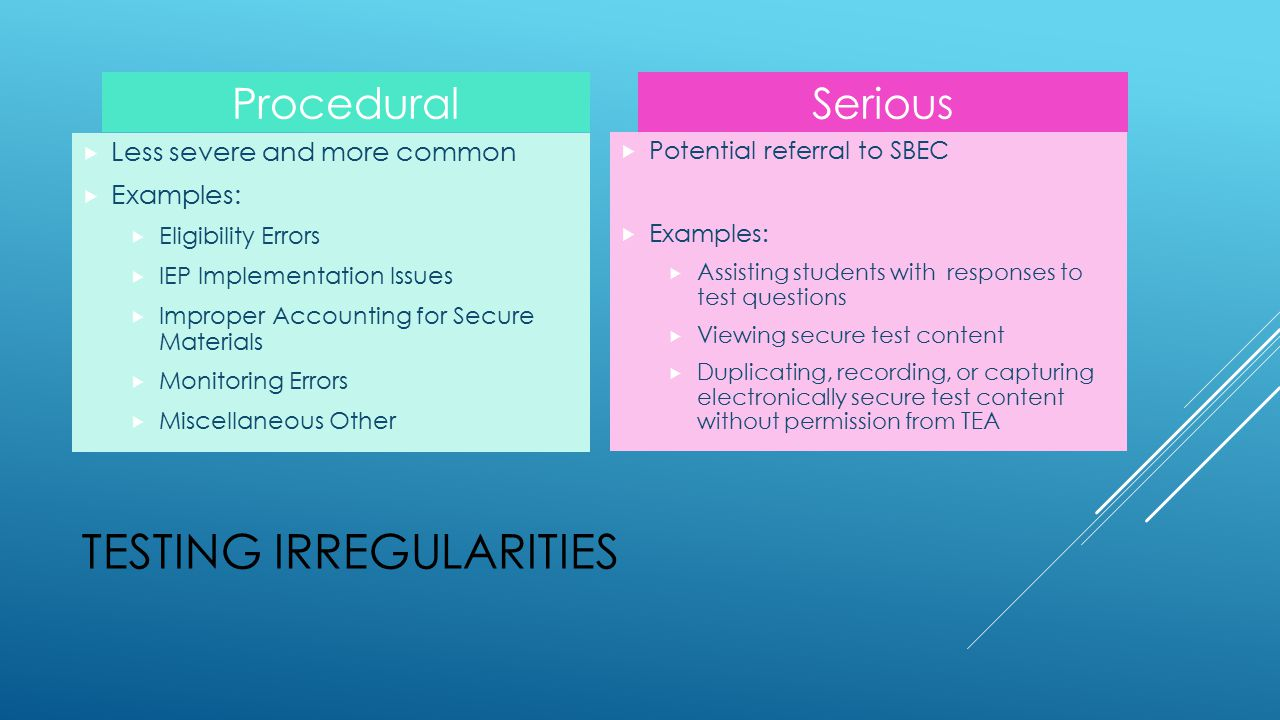 TESTING IRREGULARITIES Procedural  Less severe and more common  Examples:  Eligibility Errors  IEP Implementation Issues  Improper Accounting for Secure Materials  Monitoring Errors  Miscellaneous Other Serious  Potential referral to SBEC  Examples:  Assisting students with responses to test questions  Viewing secure test content  Duplicating, recording, or capturing electronically secure test content without permission from TEA