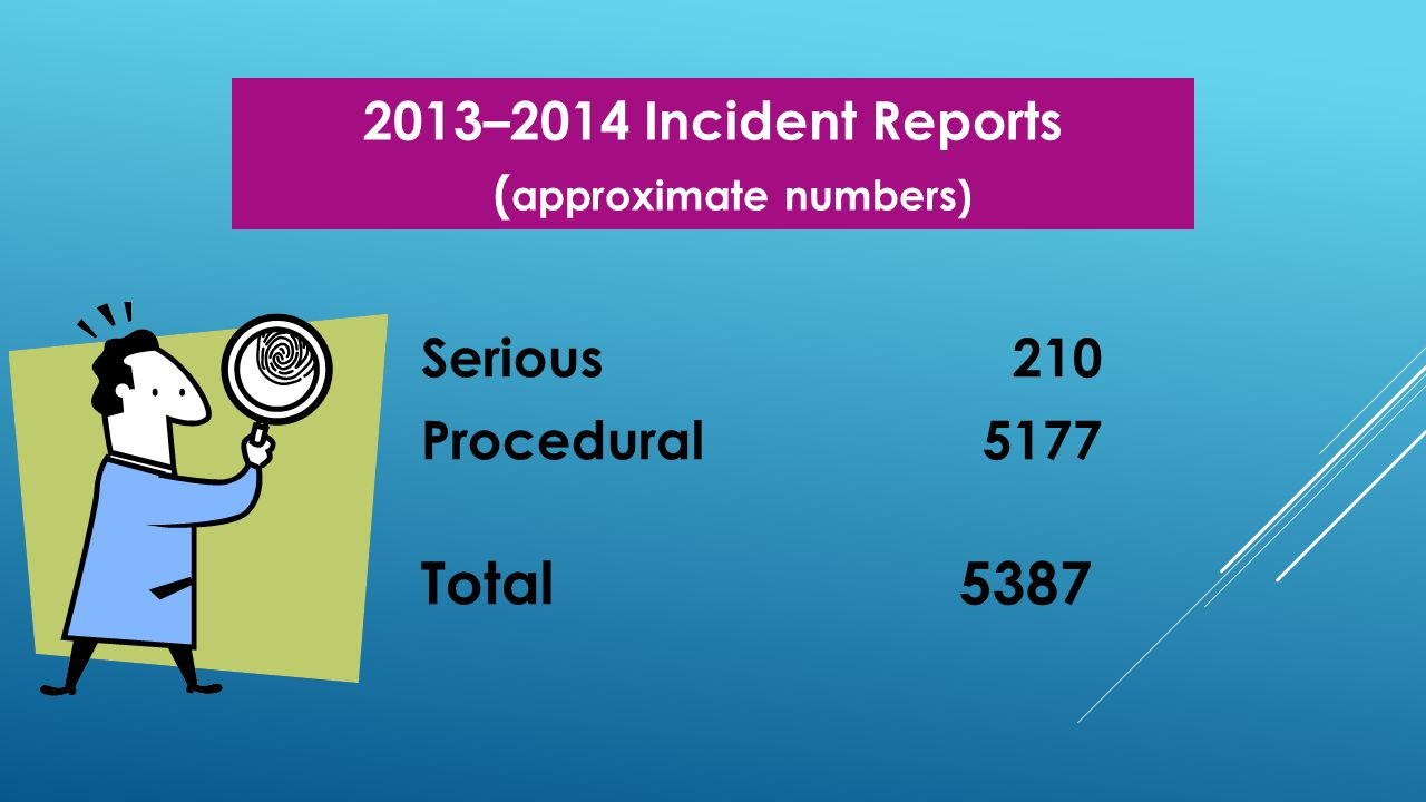 2013–2014 Incident Reports ( approximate numbers) Serious 210 Procedural 5177 Total 5387