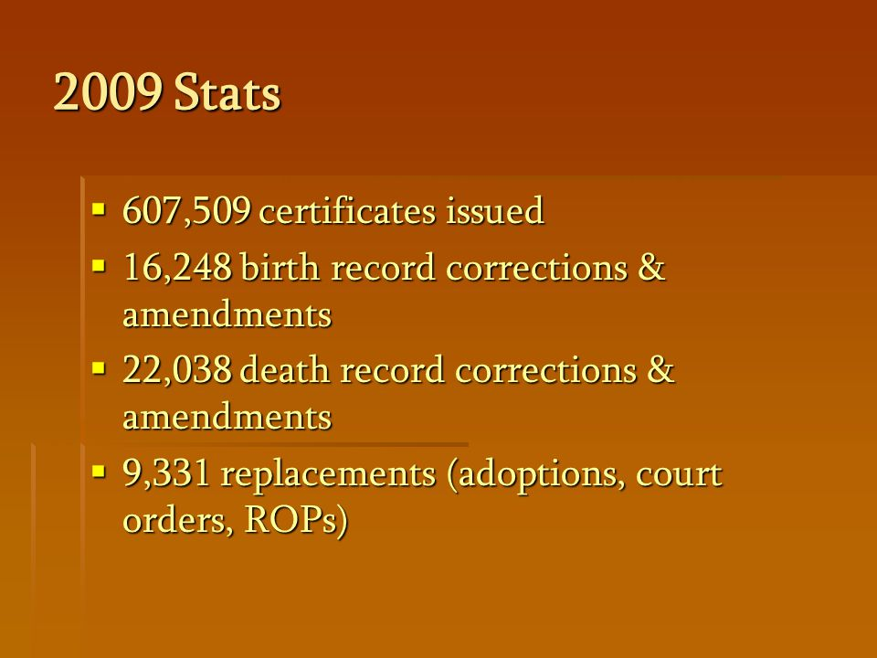 2009 Stats  607,509 certificates issued  16,248 birth record corrections & amendments  22,038 death record corrections & amendments  9,331 replacements (adoptions, court orders, ROPs)