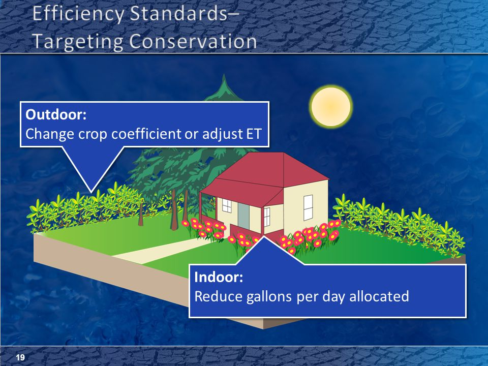 19 Outdoor: Change crop coefficient or adjust ET Outdoor: Change crop coefficient or adjust ET Indoor: Reduce gallons per day allocated Indoor: Reduce gallons per day allocated