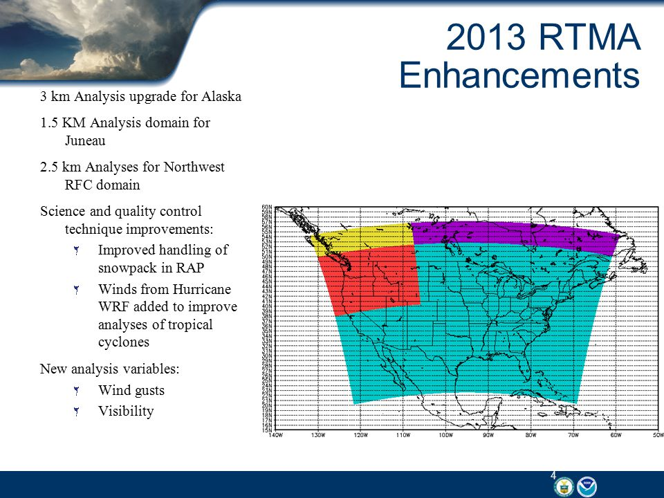 Next Steps for RTMA Development Explore potential for additional Aviation impact analysis variables: Total cloud cover Cloud base heights Mean sea level pressure Continue to enhance quality control of observations: Real-time monitoring system Real-time data mining Add metadata into GSI Improved Land sea mask Unrestricted Mesoscale Analysis: Run 4 hours after RTMA Collects more complete set of observations Improved product verification RTMA will continue to be available Enables transition to Analysis of Record capability 5