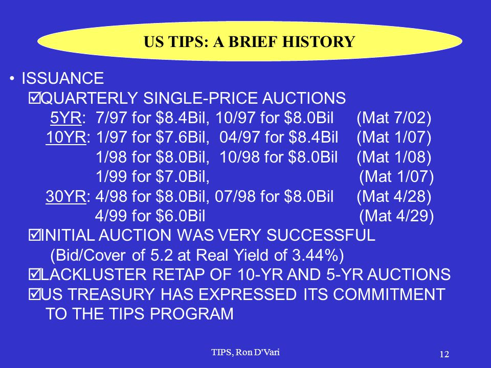 TIPS, Ron D Vari 11 TIPS' BASIC STRUCTURE  Principal adjusted daily based on 3-m lagged index ratio  Index = NSA CPI-U (all items for all urban consumers) Nov.