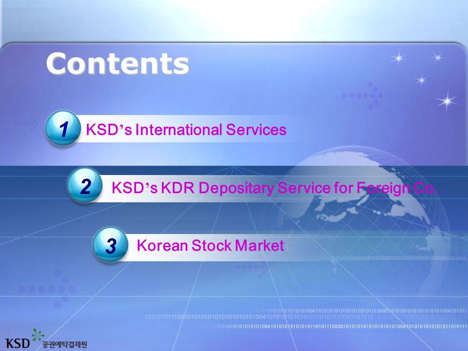 KDR Depositary Custodian for ADR(GDR) Underlying Shares Custodian for ADR(GDR) Underlying Shares PrimaryMarketPrimaryMarket DomesticCompaniesDomesticCompanies 국내증권시장국내증권시장 DomesticMarketDomesticMarket ForeignCompaniesForeignCompanies 국내증권시장국내증권시장 OverseasMarketOverseasMarket Domestic Securities Custody & Settlement Domestic Securities Custody & Settlement Foreign Securities Custody & Settlement Foreign Securities Custody & Settlement SecondaryMarketSecondaryMarket DomesticInvestorsDomesticInvestors ForeignInvestorsForeignInvestors 국내증권시장국내증권시장 DomesticMarketDomesticMarket 국내증권시장국내증권시장 OverseasMarketOverseasMarket One Single Gateway for International Securities Investment KSD's International Services 1 1
