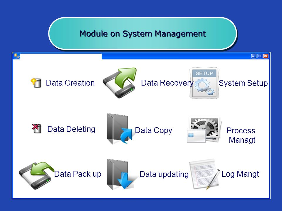 Module on System Management Data Creation Data Deleting Data Pack up Data Recovery System Setup Process Managt Data Copy Data updating Log Mangt