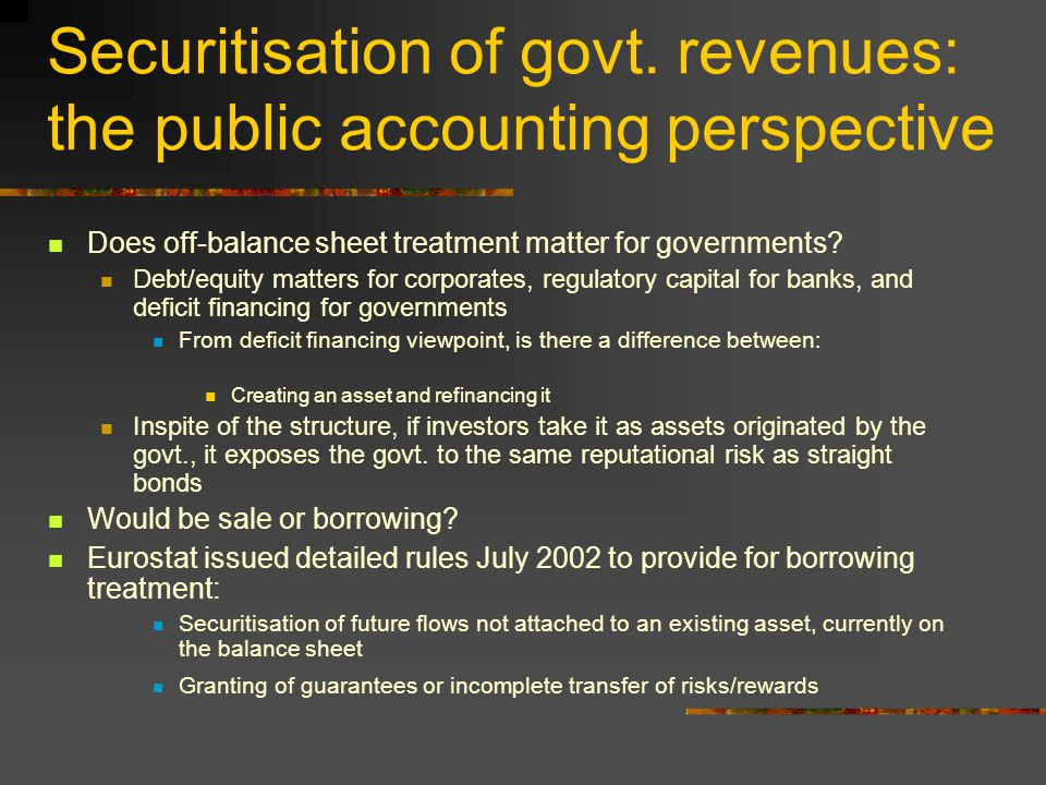 Securitisation of govt.