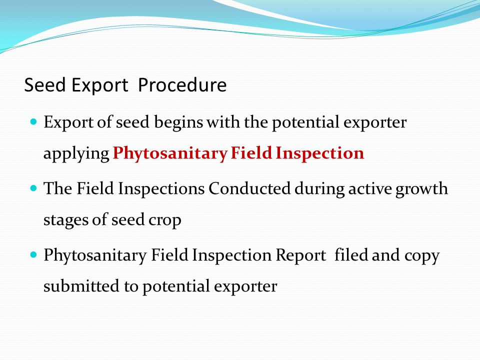 Seed Export Procedure Export of seed begins with the potential exporter applying Phytosanitary Field Inspection The Field Inspections Conducted during active growth stages of seed crop Phytosanitary Field Inspection Report filed and copy submitted to potential exporter