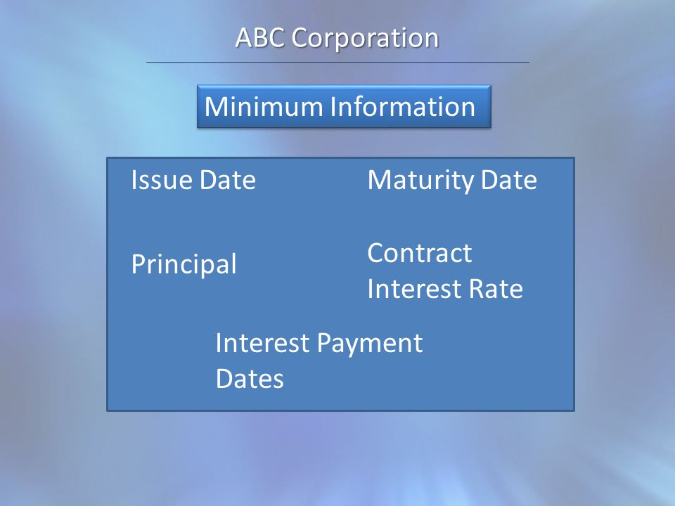 ABC Corporation Issue DateMaturity Date Interest Payment Dates Principal Contract Interest Rate Minimum Information