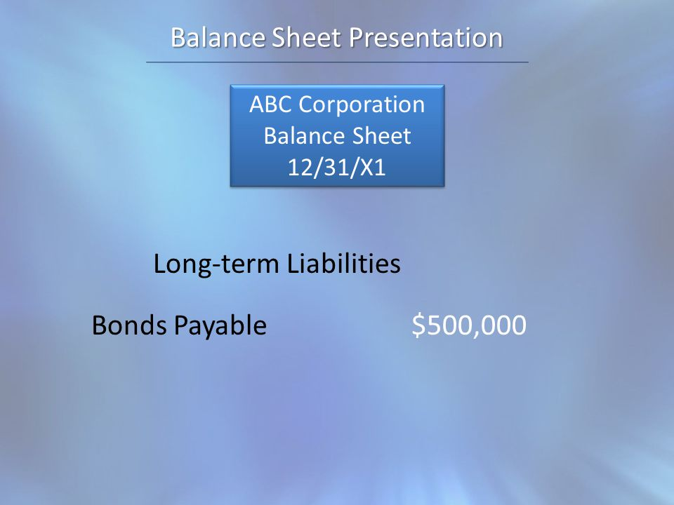 Balance Sheet Presentation ABC Corporation Balance Sheet 12/31/X1 ABC Corporation Balance Sheet 12/31/X1 Long-term Liabilities Bonds Payable$500,000