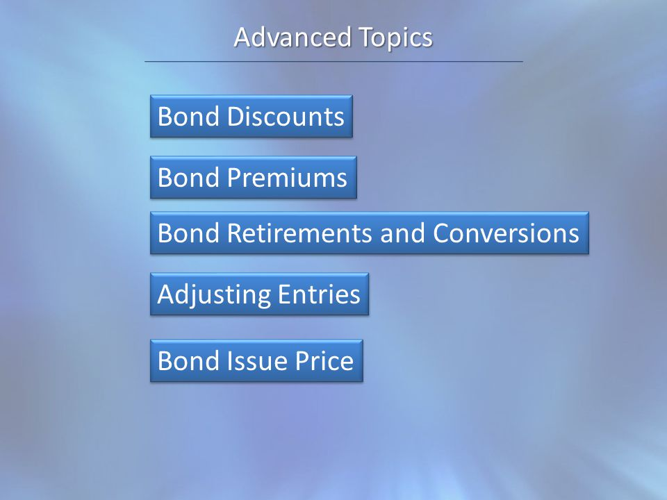 Advanced Topics Bond Discounts Bond Premiums Bond Retirements and Conversions Bond Issue Price Adjusting Entries