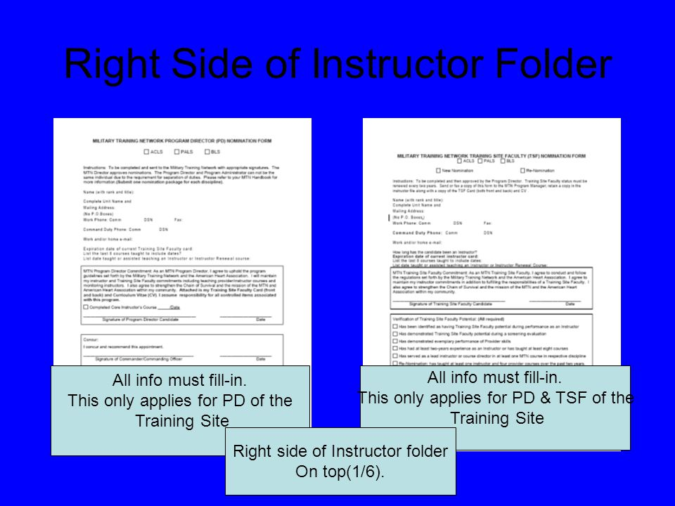 NOTE: First time instructor will not having this form.