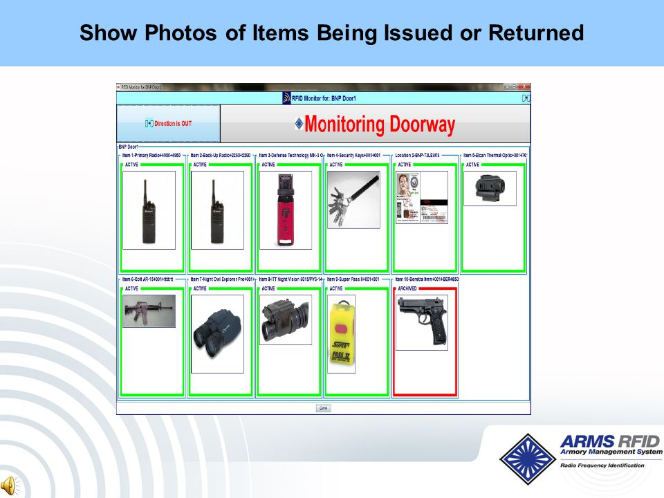 Show Photos of Items Being Issued or Returned