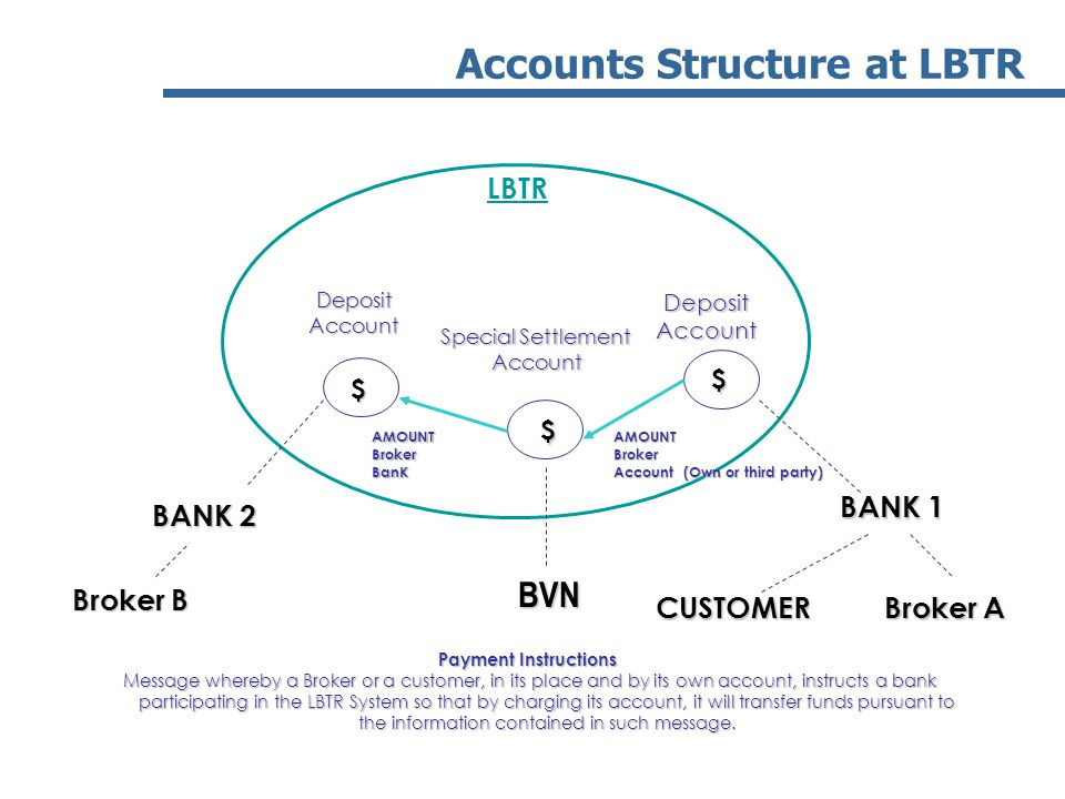 BVN Accounts Structure at LBTR LBTR Broker A BANK 2 BANK 1 Broker B $ $ $ DepositAccountDepositAccount Special Settlement Account AMOUNTBroker Account