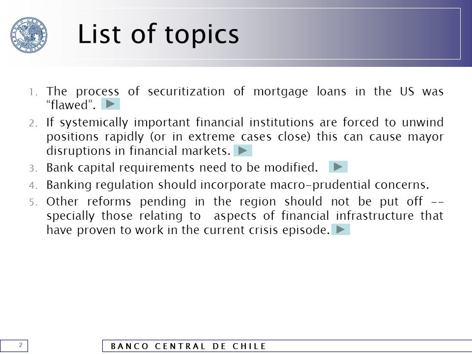 """B A N C O C E N T R A L D E C H I L E 2 List of topics 1. The process of securitization of mortgage loans in the US was """"flawed"""". 2. If systemically i"""