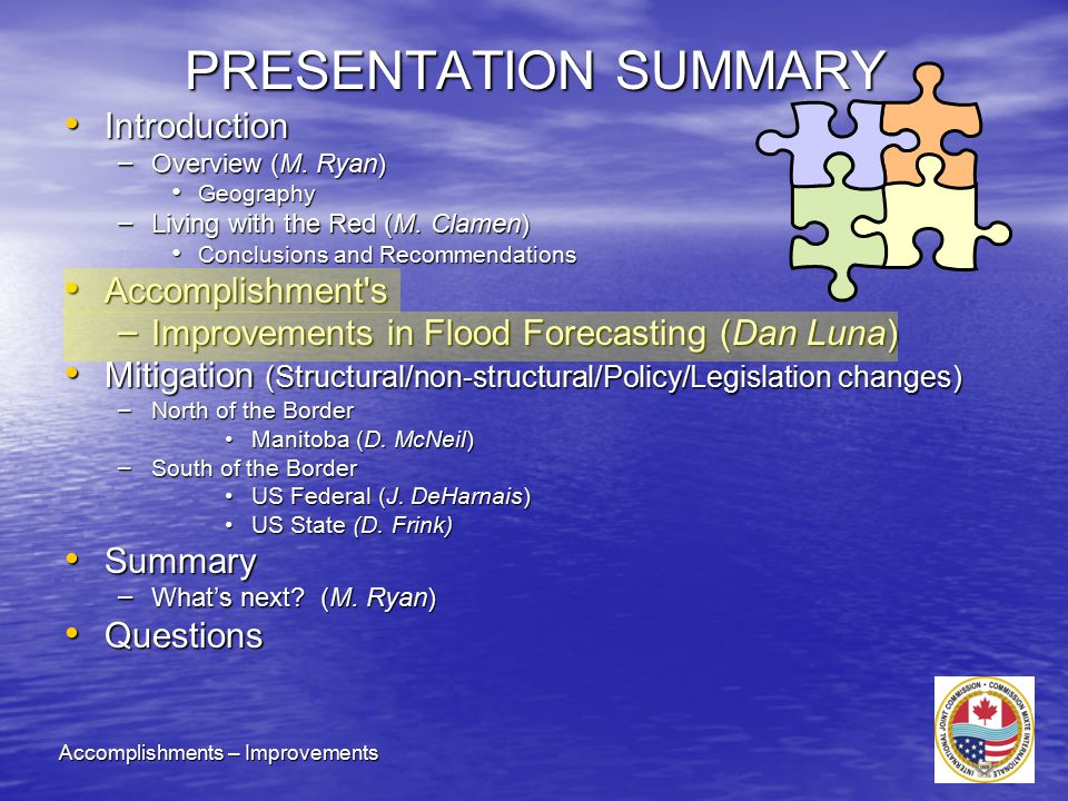 PRESENTATION SUMMARY Introduction Introduction – Overview (M.