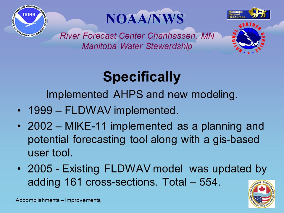 NOAA/NWS River Forecast Center Chanhassen, MN Manitoba Water Stewardship Specifically Implemented AHPS and new modeling. 1999 – FLDWAV implemented. 20