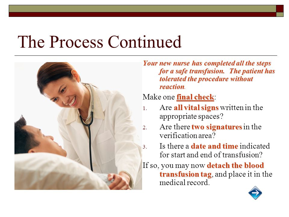 The Process Continued Your new nurse has completed all the steps for a safe transfusion.