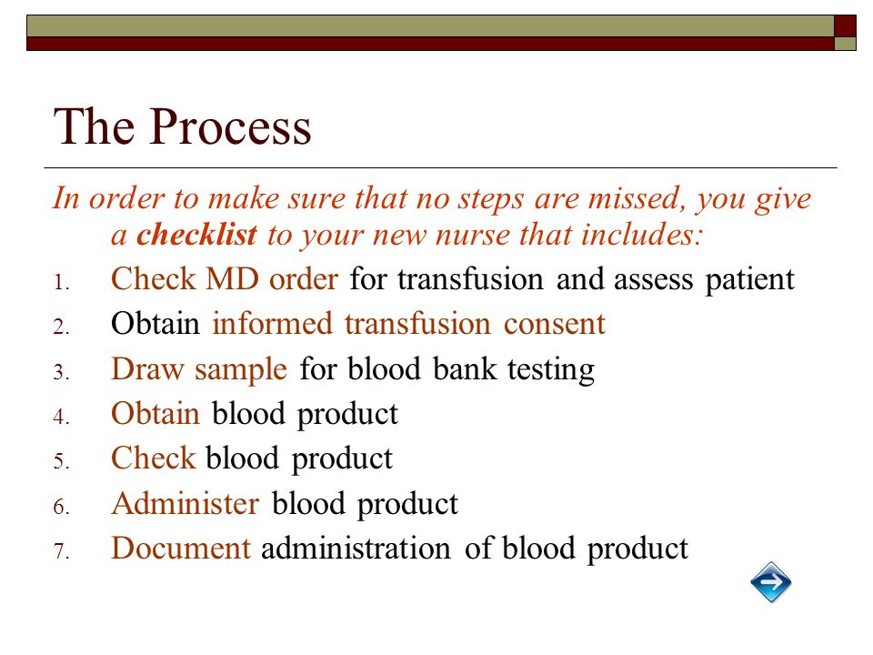 The Process In order to make sure that no steps are missed, you give a checklist to your new nurse that includes: 1.