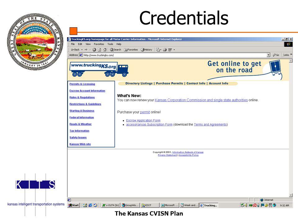 The Kansas CVISN Plan Credentials