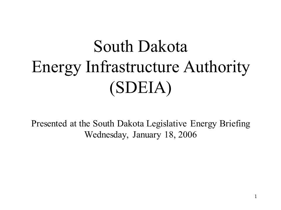 1 South Dakota Energy Infrastructure Authority (SDEIA) Presented at the South Dakota Legislative Energy Briefing Wednesday, January 18, 2006