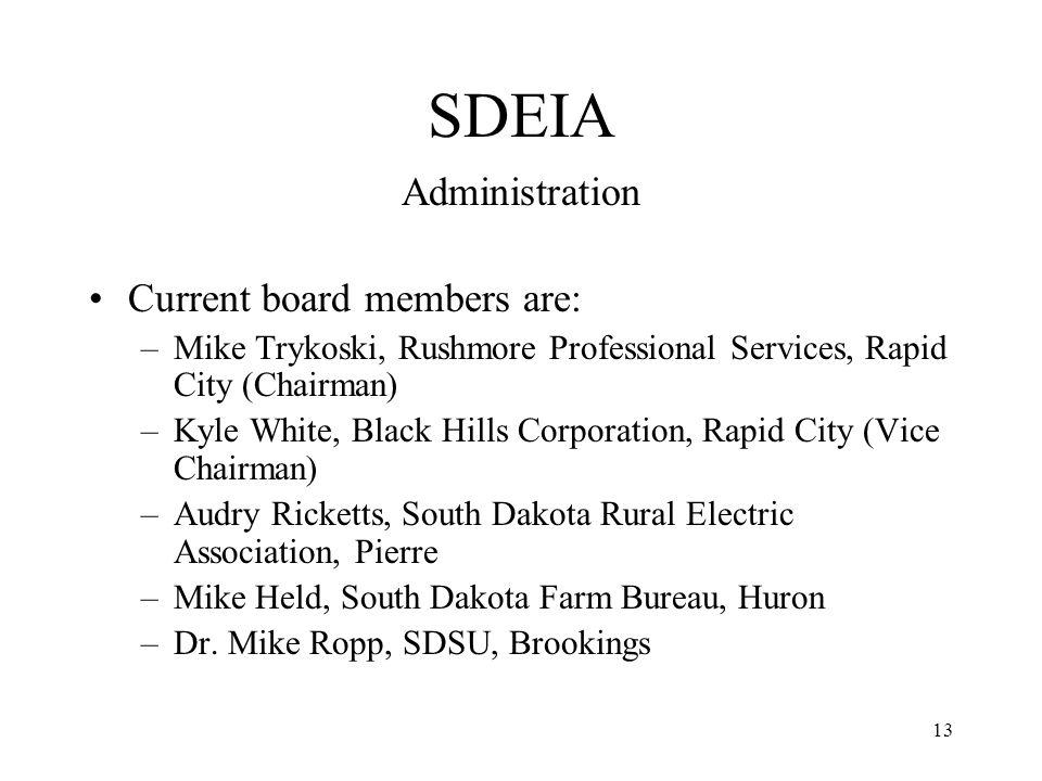 13 SDEIA Administration Current board members are: –Mike Trykoski, Rushmore Professional Services, Rapid City (Chairman) –Kyle White, Black Hills Corporation, Rapid City (Vice Chairman) –Audry Ricketts, South Dakota Rural Electric Association, Pierre –Mike Held, South Dakota Farm Bureau, Huron –Dr.
