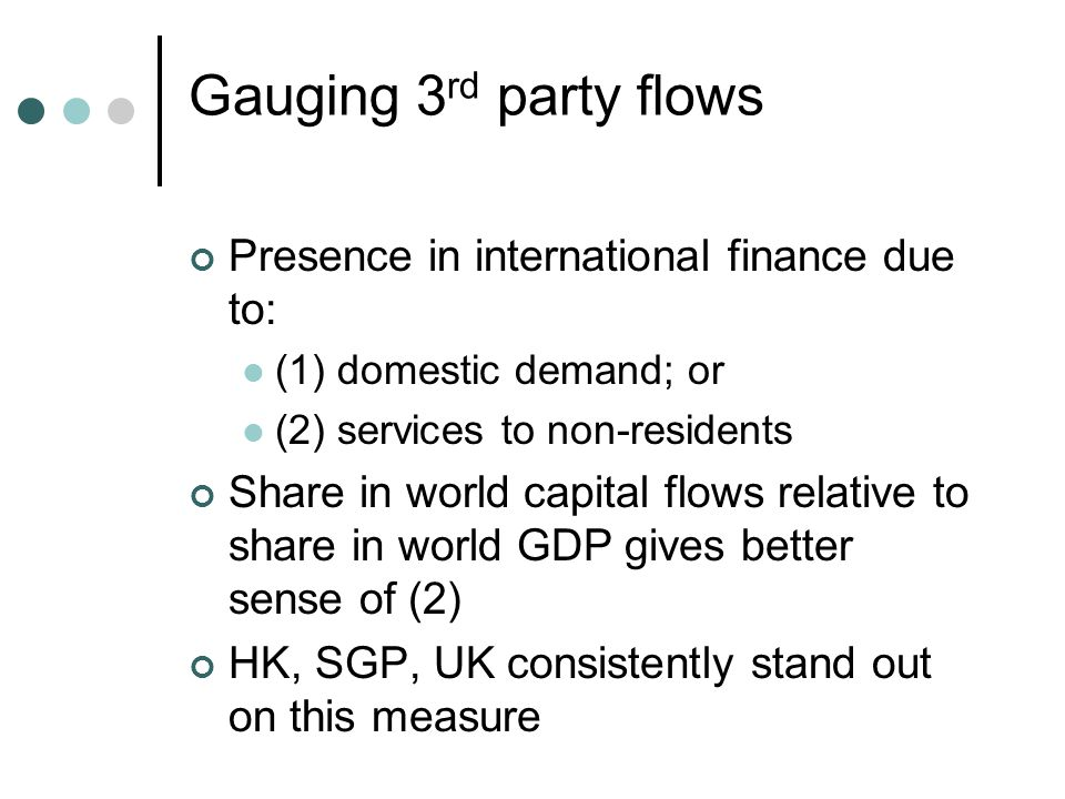 Gauging 3 rd party flows Presence in international finance due to: (1) domestic demand; or (2) services to non-residents Share in world capital flows relative to share in world GDP gives better sense of (2) HK, SGP, UK consistently stand out on this measure
