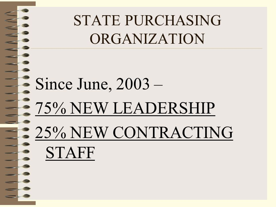 75% NEW LEADERSHIP Fred Springer, Director of Purchasing – Attorney for State Purchasing 18 months Russ Rothman, CPPO, Chief Purchasing Operations Officer – founding member of NIGP Tallahassee Chapter, 22 years purchasing experience.