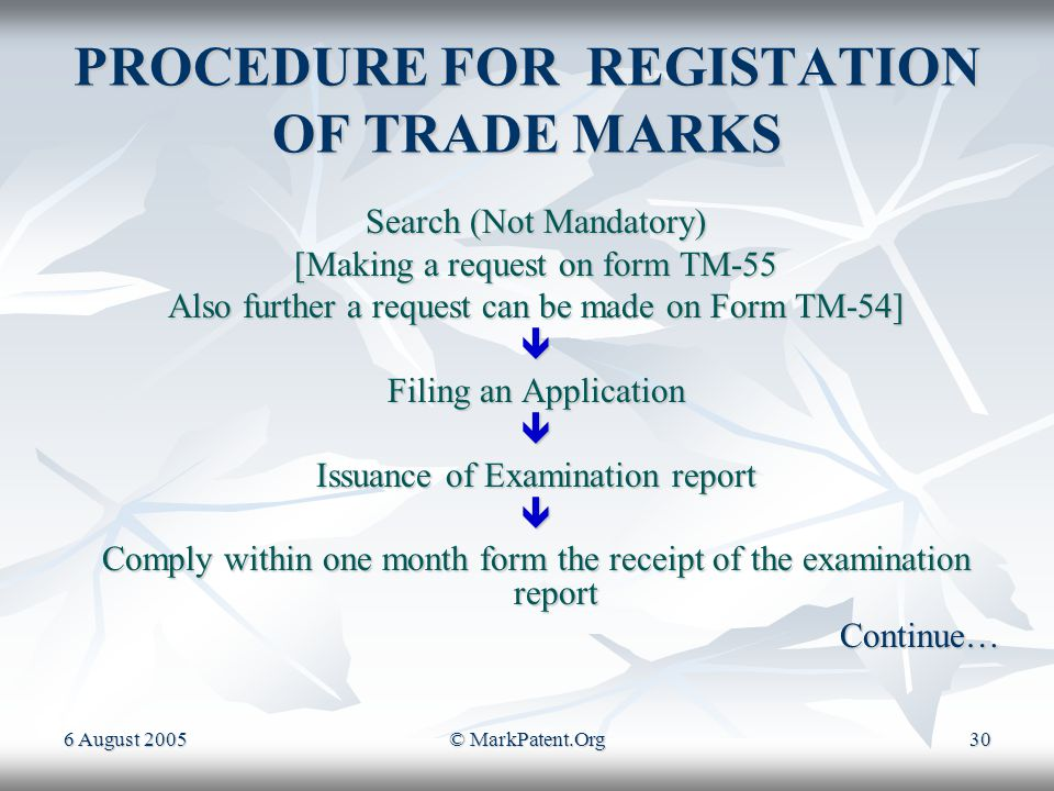 6 August 2005© MarkPatent.Org29 TRADE MARKS A Trade Mark, (popularly known as Brand name), is an identification symbol which may be a device, a label