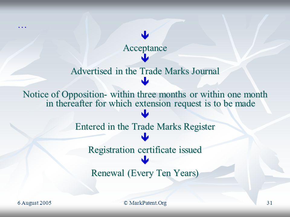 6 August 2005© MarkPatent.Org30 PROCEDURE FOR REGISTATION OF TRADE MARKS Search (Not Mandatory) [Making a request on form TM-55 Also further a request can be made on Form TM-54]  Filing an Application  Issuance of Examination report  Comply within one month form the receipt of the examination report Continue…