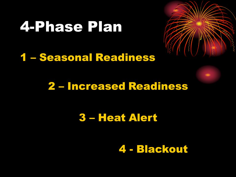 1 – Seasonal Readiness 4-Phase Plan 2 – Increased Readiness 3 – Heat Alert 4 - Blackout