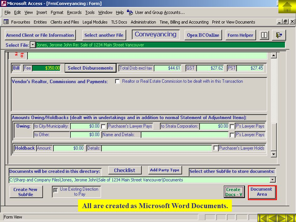 All are created as Microsoft Word Documents.