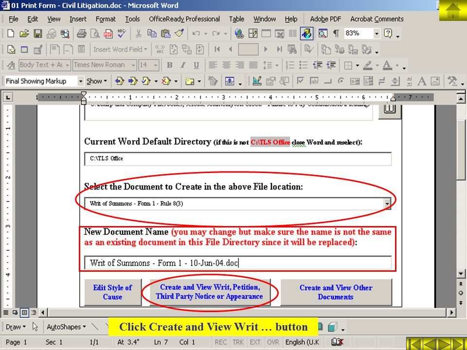 Click Create and View Writ … button
