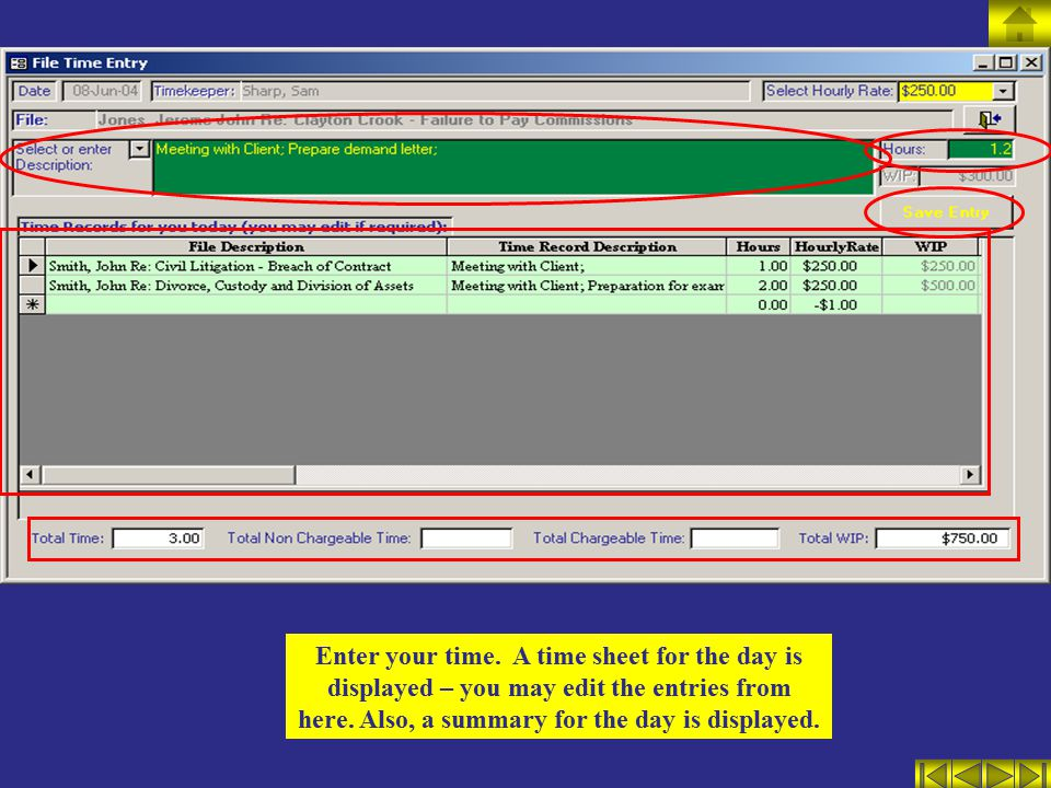 Enter your time.A time sheet for the day is displayed – you may edit the entries from here.
