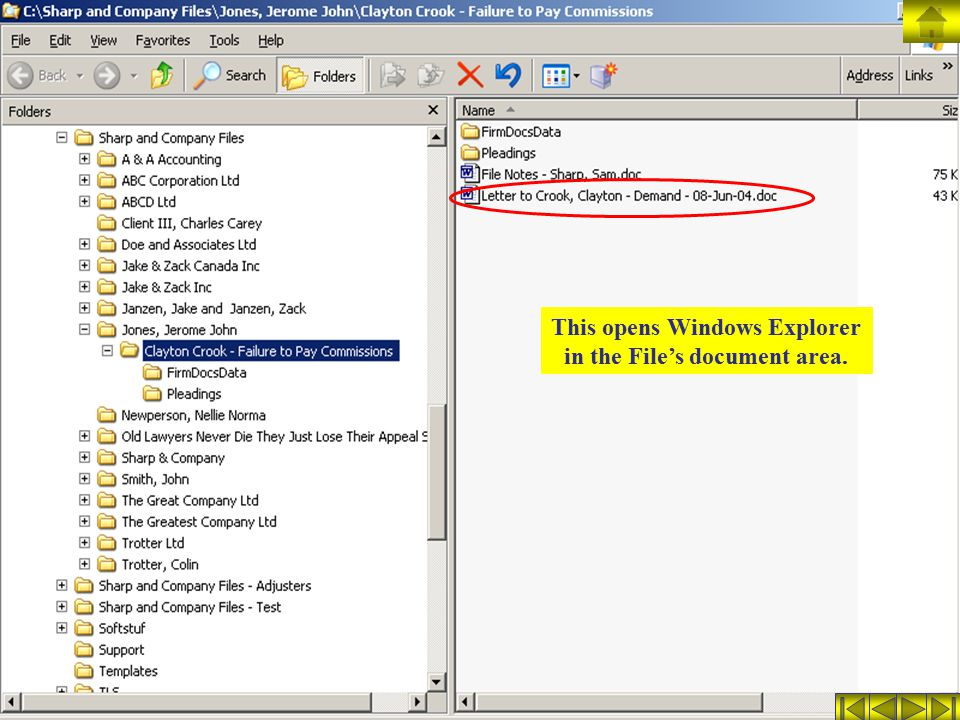 This opens Windows Explorer in the File's document area.