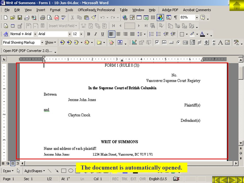 The document is automatically opened.